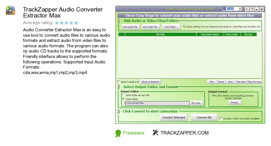 TrackZapper Audio Converter Extractor Max