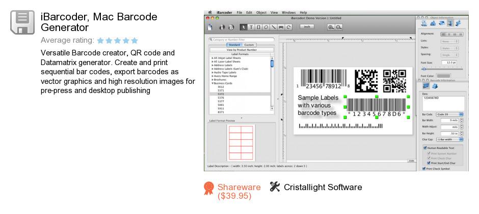 IBarcoder, Mac Barcode Generator