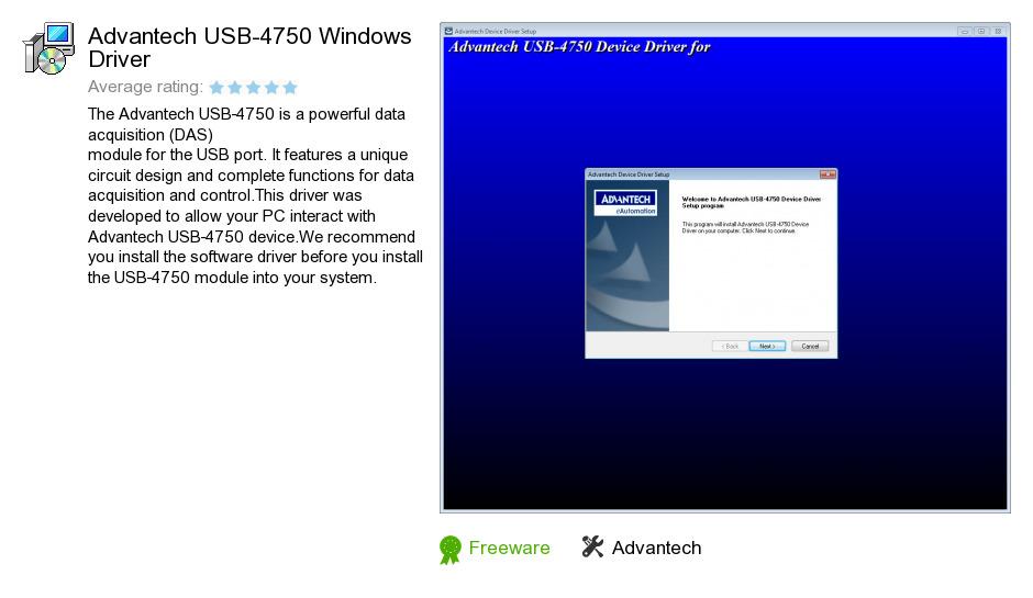 Advantech USB-4750 Windows Driver