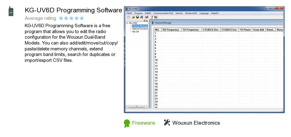 KG-UV6D Programming Software