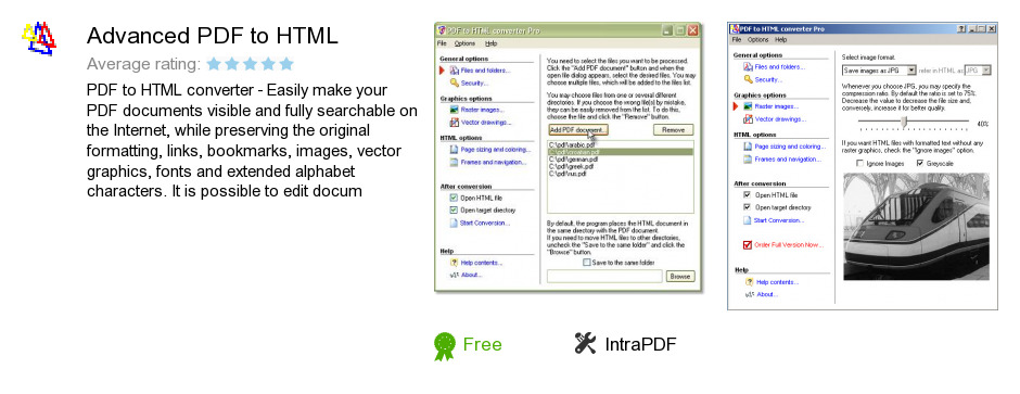 Advanced PDF to HTML
