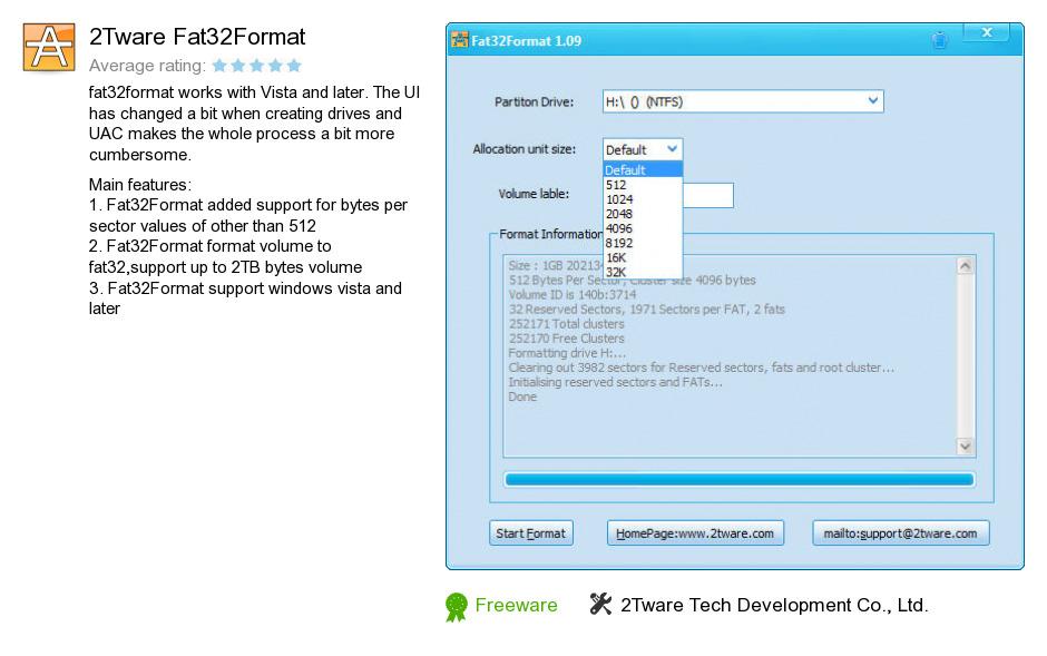 2Tware Fat32Format