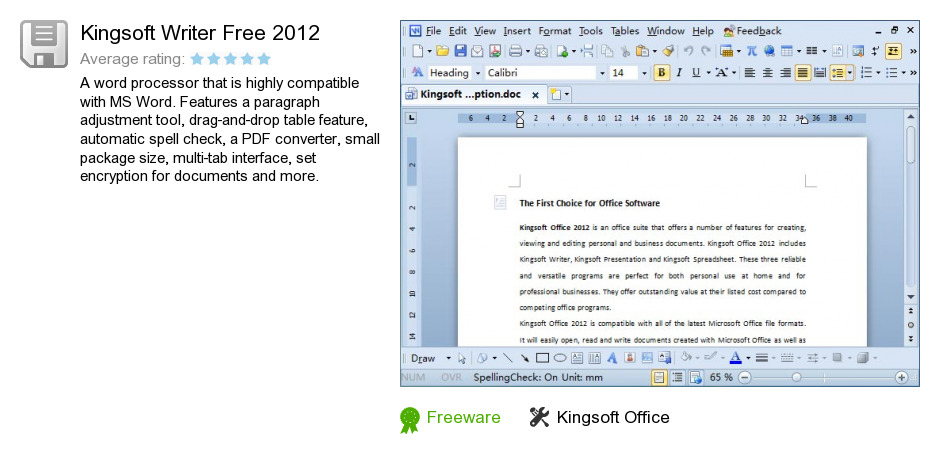 Kingsoft Writer Free 2012