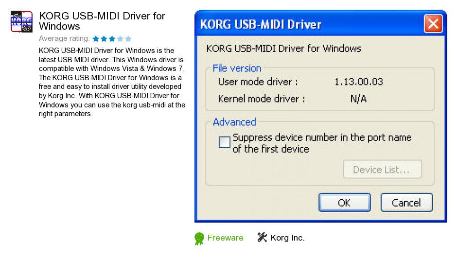 KORG USB-MIDI Driver for Windows