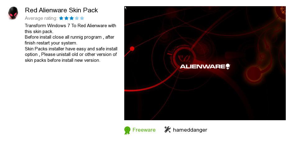 Red Alienware Skin Pack