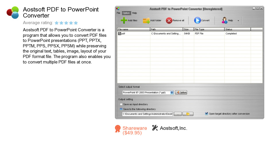 Aostsoft PDF to PowerPoint Converter
