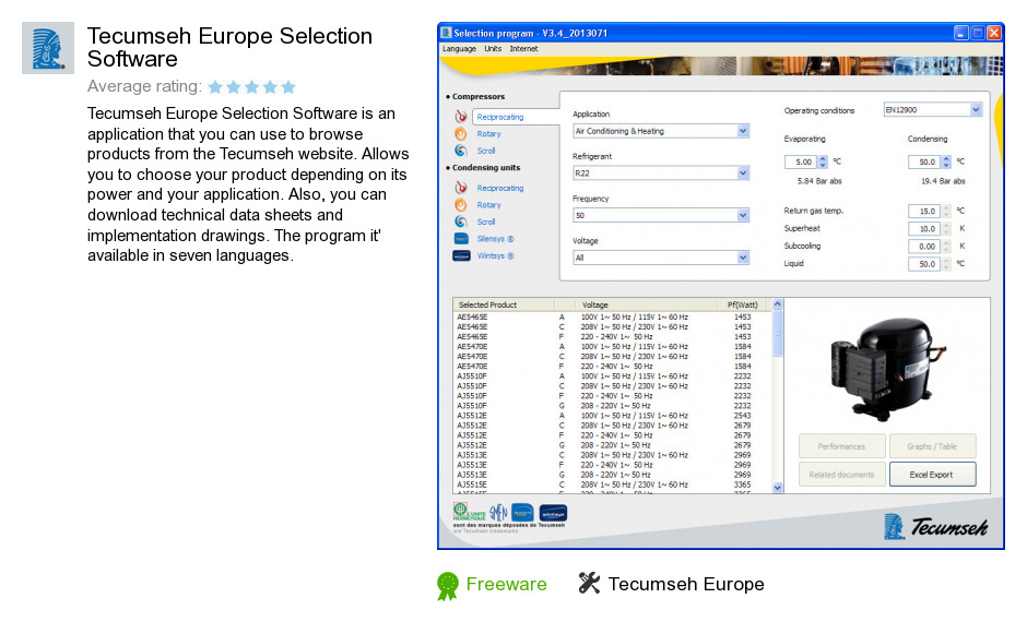 Tecumseh Europe Selection Software