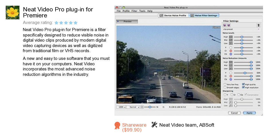 Neat Video Pro plug-in for Premiere