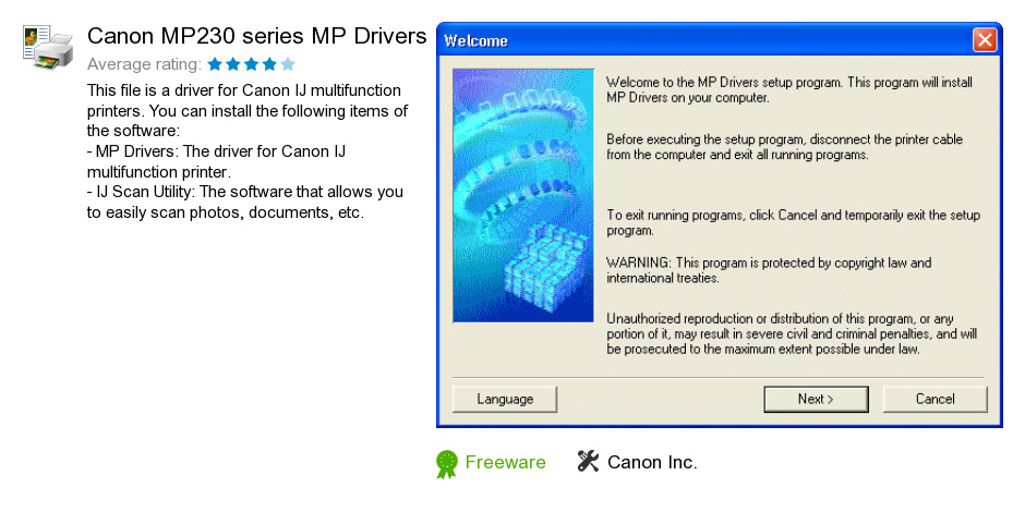 Canon MP230 series MP Drivers