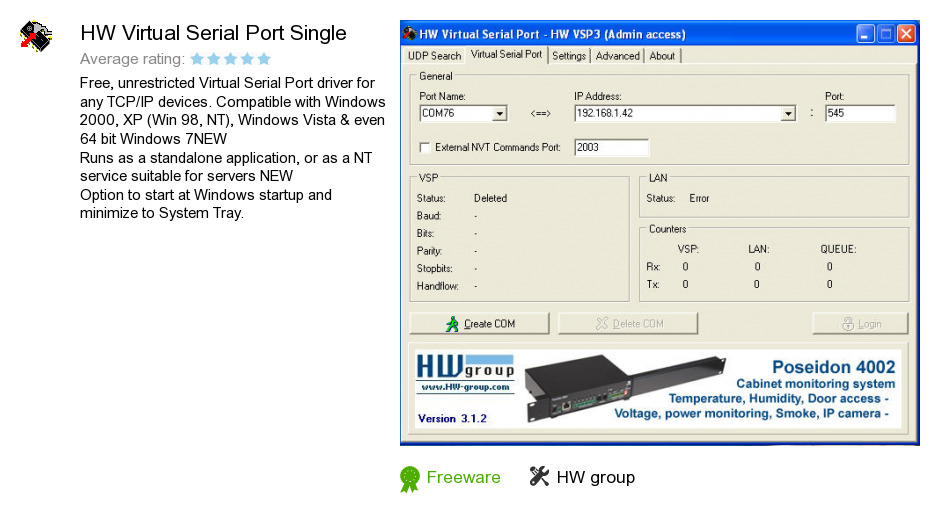 HW Virtual Serial Port Single