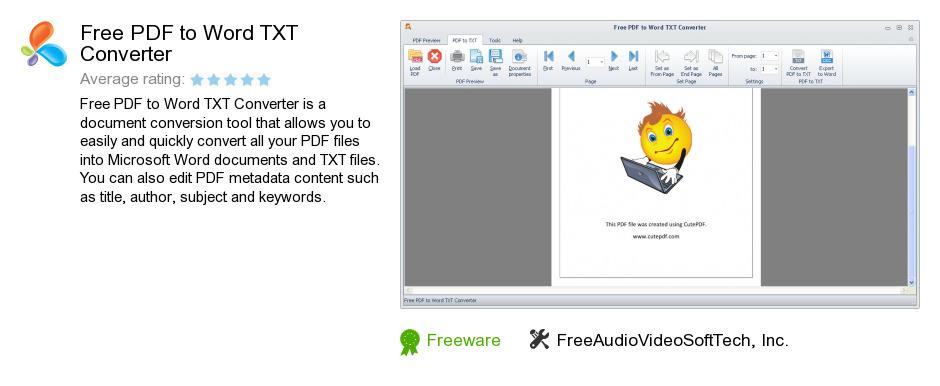 Free PDF to Word TXT Converter