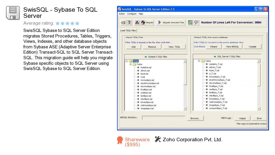 SwisSQL - Sybase To SQL Server