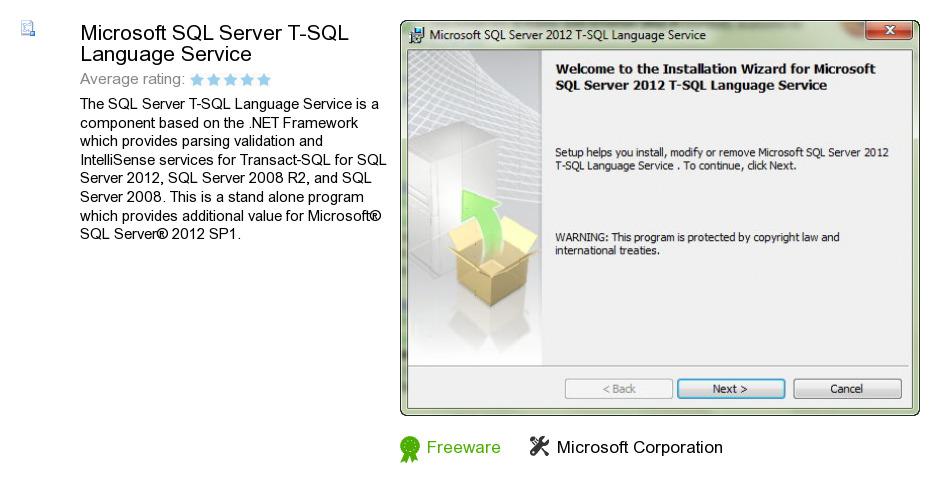 Microsoft SQL Server T-SQL Language Service