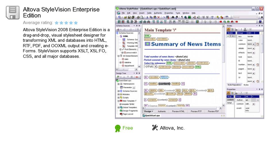 Altova StyleVision Enterprise Edition