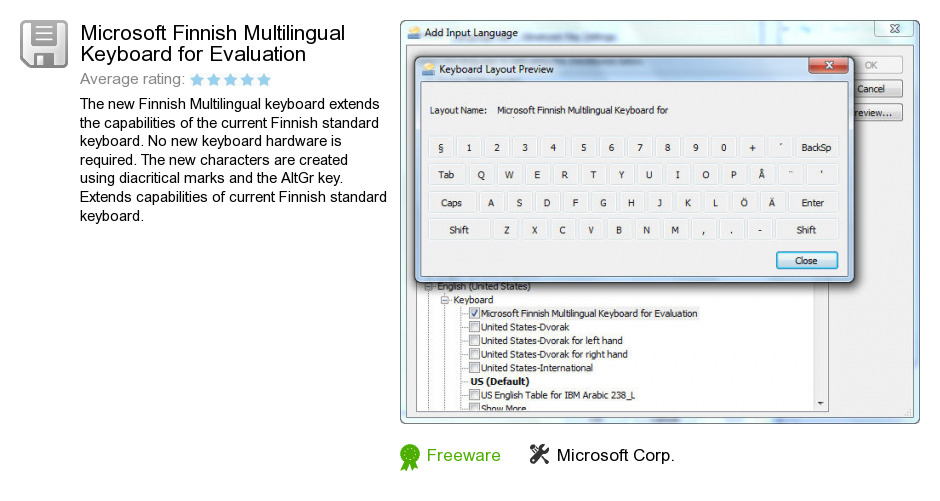 Microsoft Finnish Multilingual Keyboard for Evaluation
