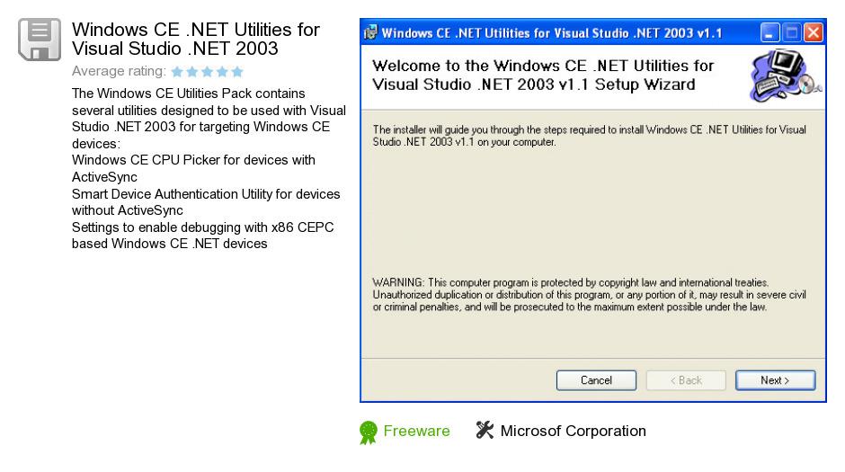 Windows CE .NET Utilities for Visual Studio .NET 2003