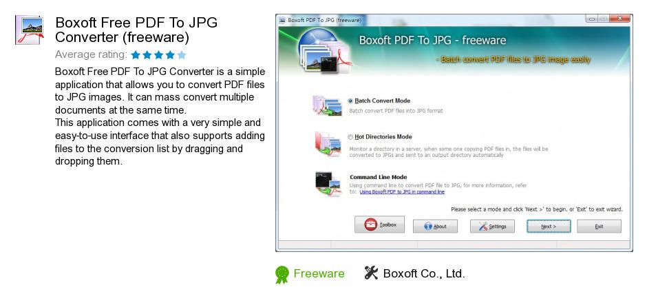 Boxoft Free PDF To JPG Converter (freeware)