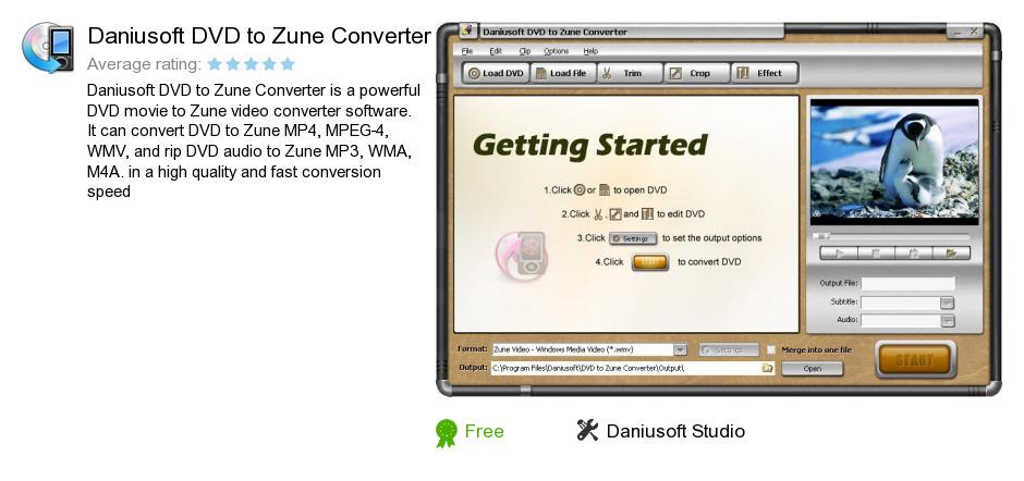 Daniusoft DVD to Zune Converter