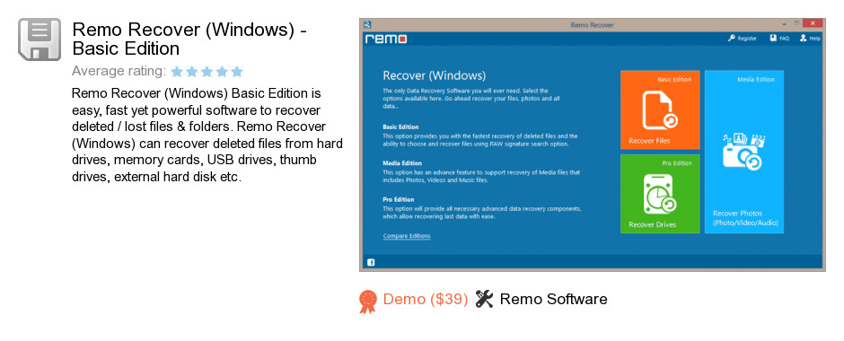Remo Recover (Windows) - Basic Edition