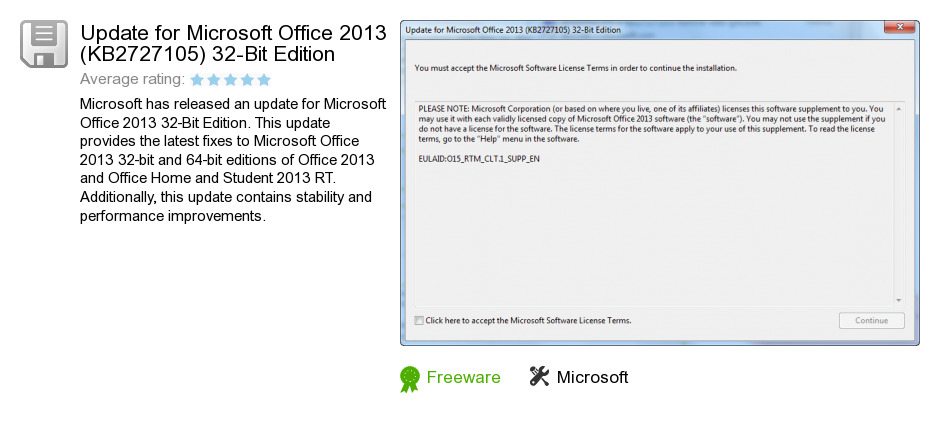 Update for Microsoft Office 2013 (KB2727105) 32-Bit Edition