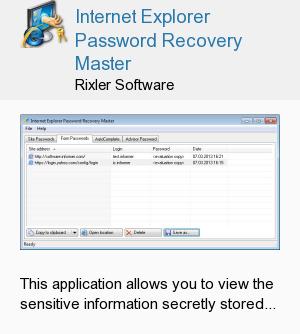 Internet Explorer Password Recovery Master