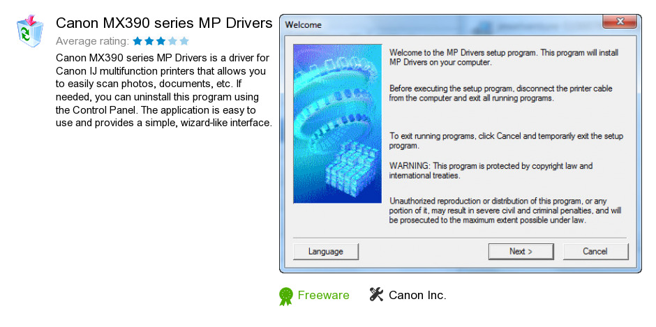 Canon MX390 series MP Drivers