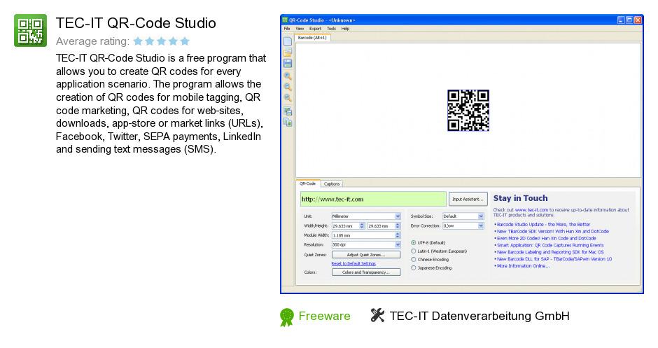 Free TEC-IT QR-Code Studio Download: 6,826,802 bytes