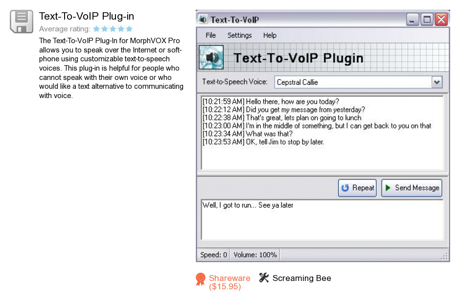 Text-To-VoIP Plug-in