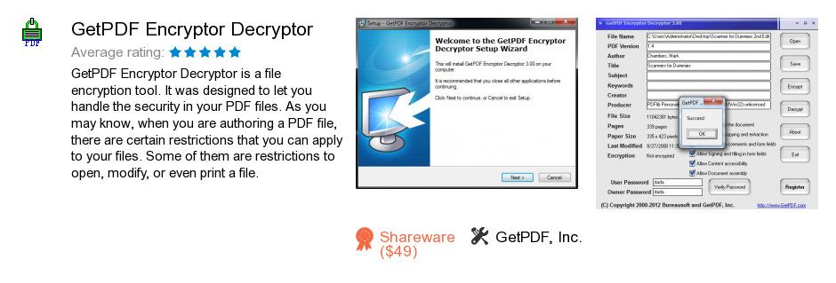 GetPDF Encryptor Decryptor