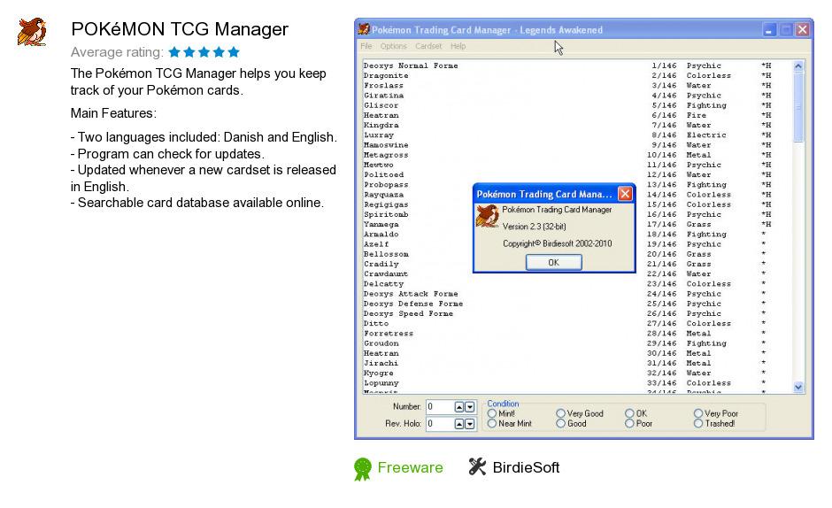 Free POKéMON TCG Manager Download: 639,603 bytes