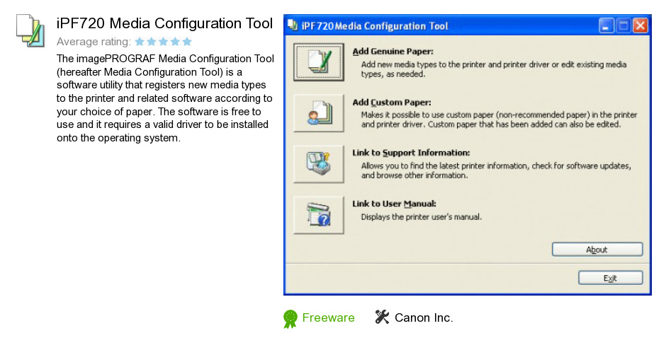IPF720 Media Configuration Tool