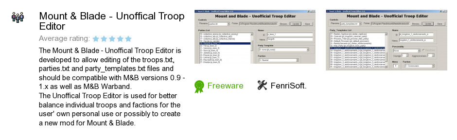 Mount & Blade - Unoffical Troop Editor
