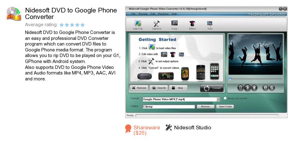 Nidesoft DVD to Google Phone Converter