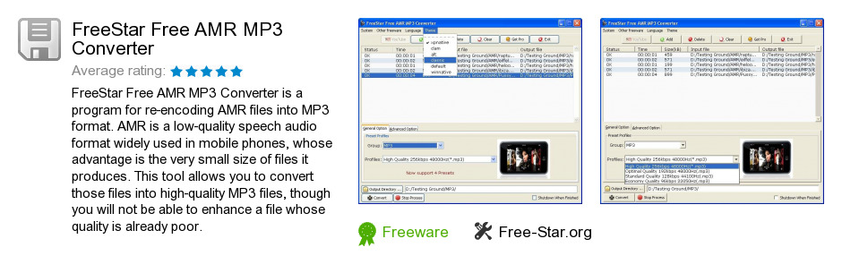 FreeStar Free AMR MP3 Converter