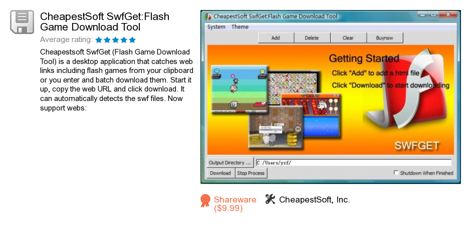 CheapestSoft SwfGet:Flash Game Download Tool