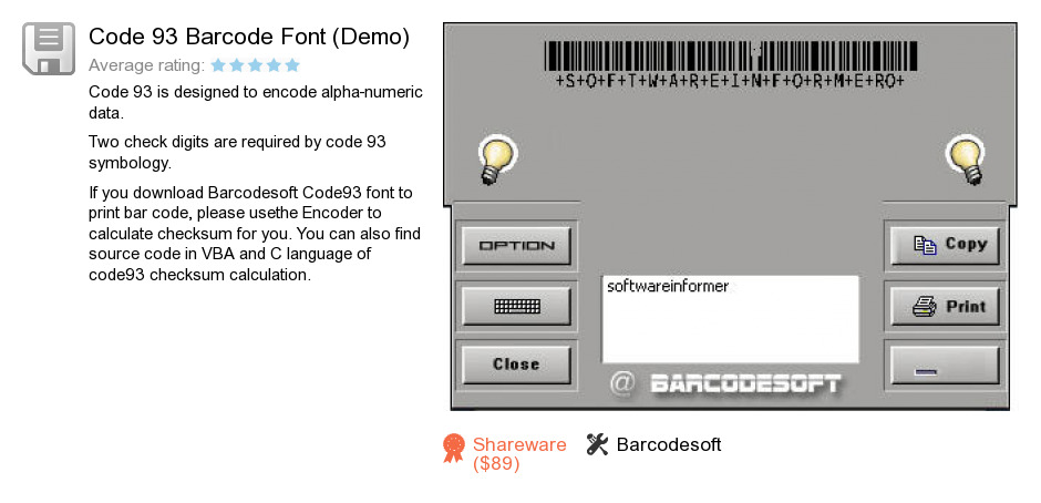 Code 93 Barcode Font (Demo)