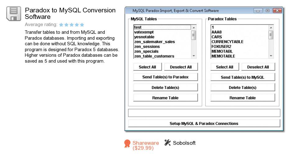 Paradox to MySQL Conversion Software