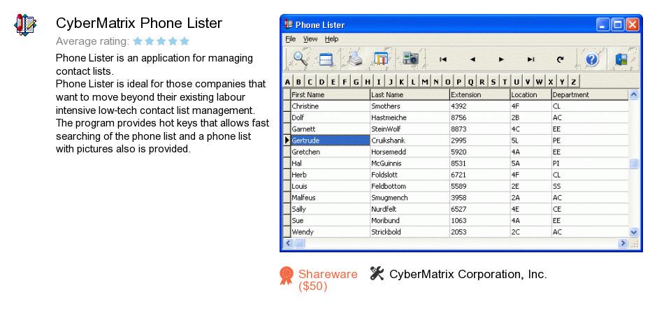 CyberMatrix Phone Lister