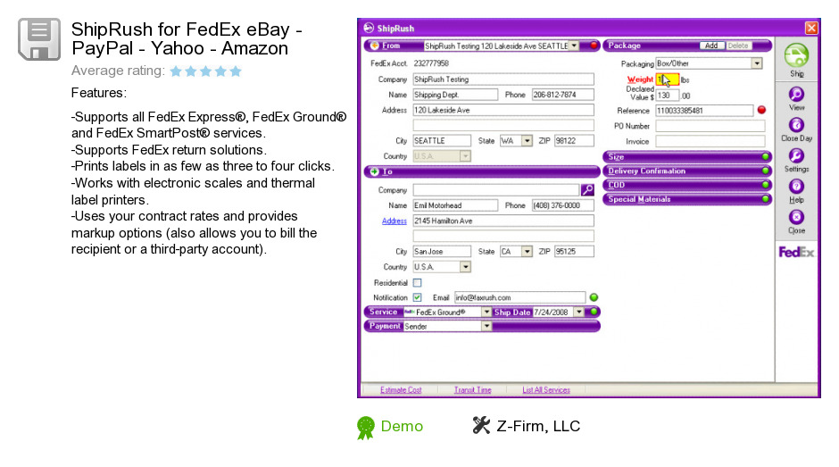 ShipRush for FedEx eBay - PayPal - Yahoo - Amazon