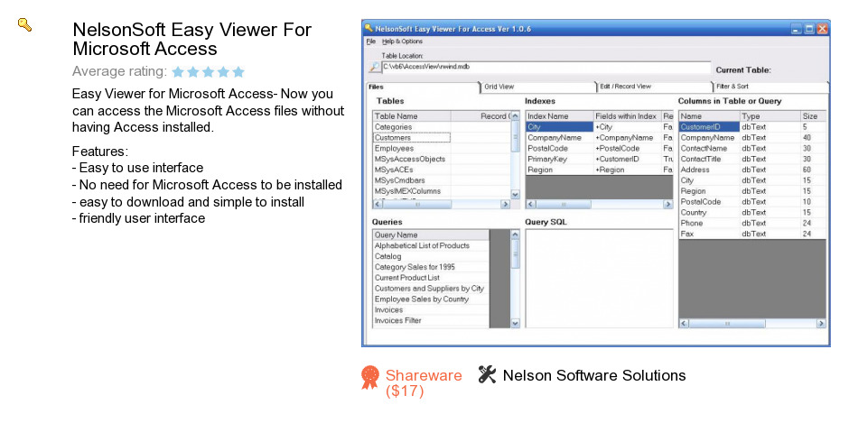 NelsonSoft Easy Viewer For Microsoft Access