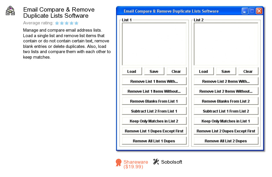 Email Compare & Remove Duplicate Lists Software