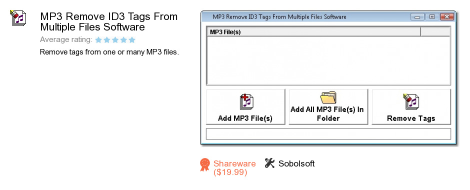 MP3 Remove ID3 Tags From Multiple Files Software