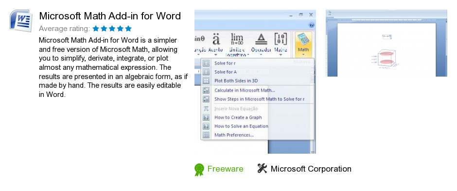 Microsoft Math Add-in for Word