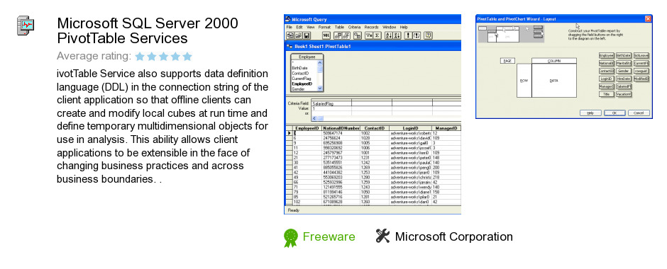 Microsoft SQL Server 2000 PivotTable Services