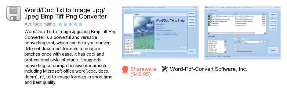 Word/Doc Txt to Image Jpg/Jpeg Bmp Tiff Png Converter