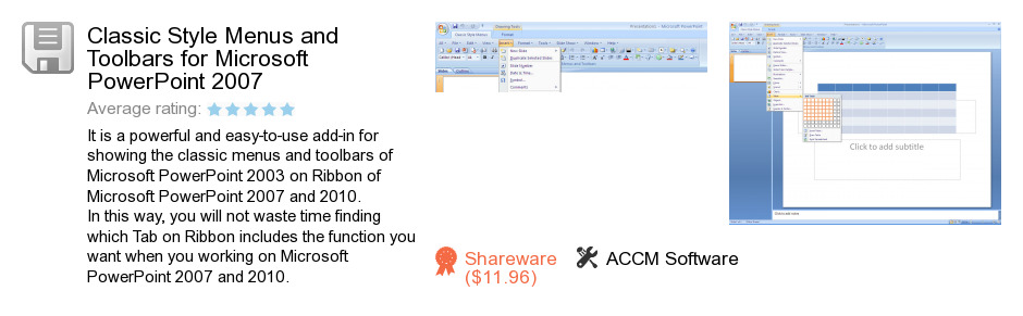 Classic Style Menus and Toolbars for Microsoft PowerPoint 2007