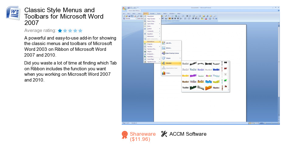 Classic Style Menus and Toolbars for Microsoft Word 2007