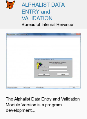 ALPHALIST DATA ENTRY and VALIDATION