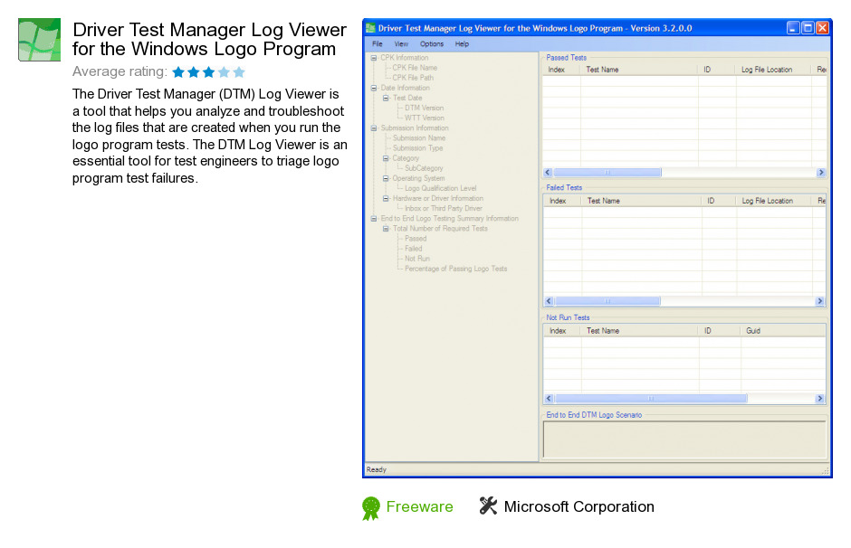 Driver Test Manager Log Viewer for the Windows Logo Program