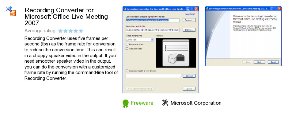Recording Converter for Microsoft Office Live Meeting 2007